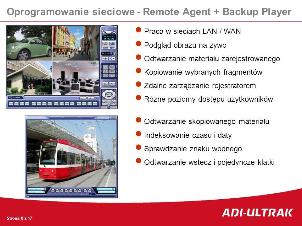Oprogramowanie sieciowe - Remote Agent + Backup Player Praca w sieciach LAN / WAN Podgląd obrazu na żywo Odtwarzanie materiału zarejestrowanego Kopiow