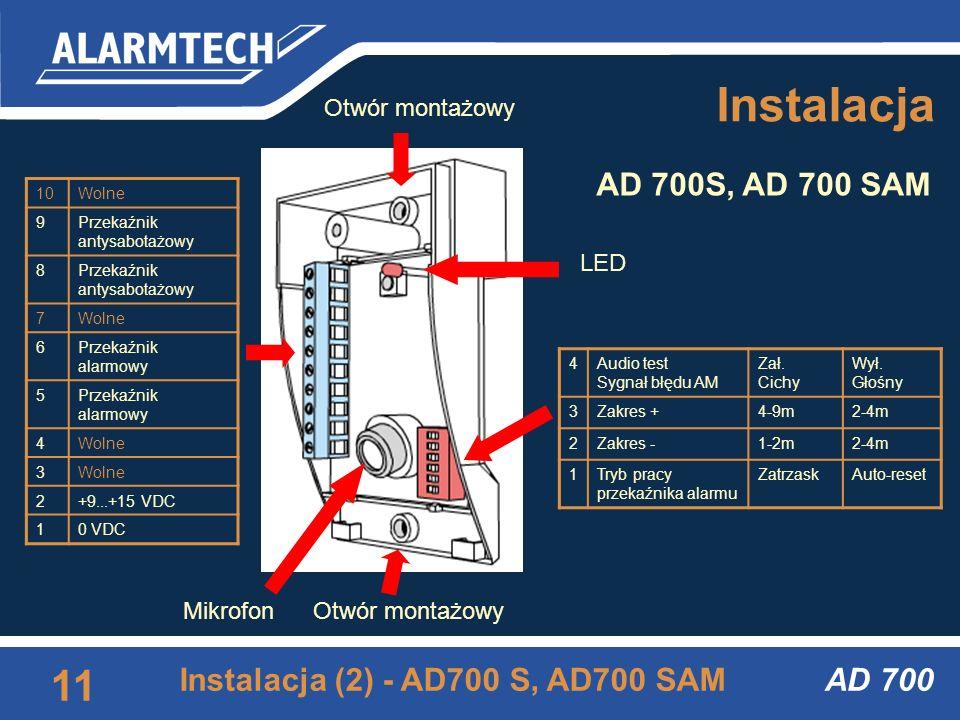 AD 700 10 Instalacja (2) - AD700, AD700 AM Instalacja 6Audio test Sygnał błędu AM Zał. Cichy Wył. Głośny 5Zakres +4-9m2-4m 4Zakres -1-2m2-4m 3Polaryza