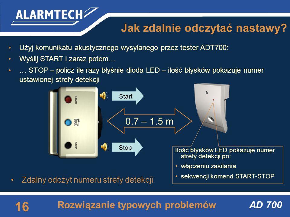 AD 700 15 Rozwiązanie typowych problemów Jak sprawdzić podłączenie do centralki? Użyj komunikatu akustycznego wysyłanego przez tester ADT700: Wyślij S