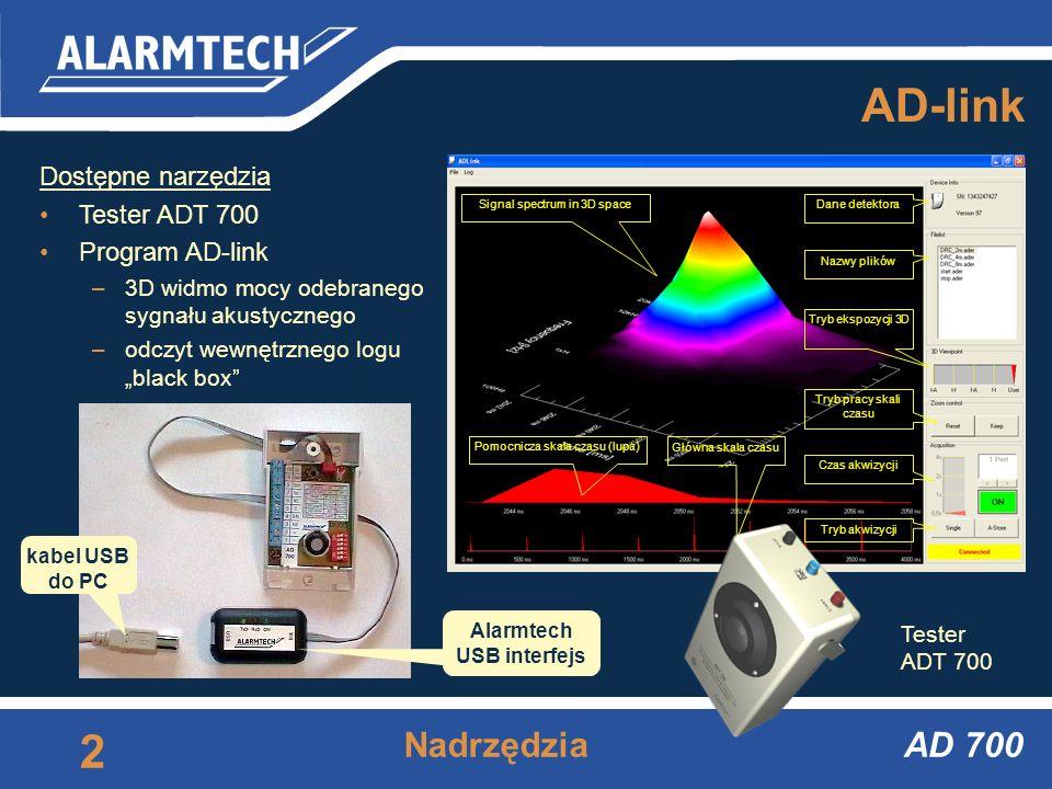 AD 700 Akustyczny detektor zbicia szyby http://www.alarmtech.pl AD 700 Zasady instalacji