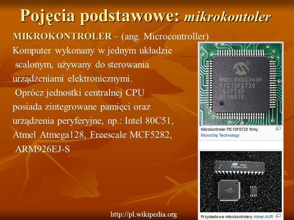 Pojęcia podstawowe: mikrokontoler MIKROKONTROLER – MIKROKONTROLER – (ang. Microcontroller) Komputer wykonany w jednym układzie scalonym, używany do st