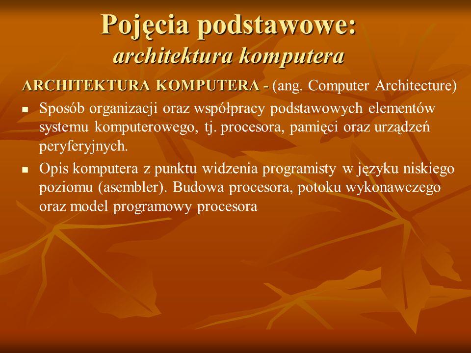 Pojęcia podstawowe: architektura komputera ARCHITEKTURA KOMPUTERA - ARCHITEKTURA KOMPUTERA - (ang. Computer Architecture) Sposób organizacji oraz wspó