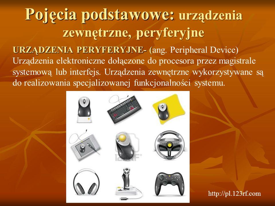 Pojęcia podstawowe: urządzenia zewnętrzne, peryferyjne URZĄDZENIA PERYFERYJNE- ( URZĄDZENIA PERYFERYJNE- (ang. Peripheral Device) Urządzenia elektroni