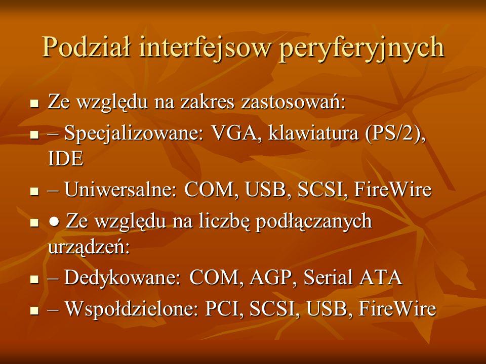 Podział interfejsow peryferyjnych Ze względu na zakres zastosowań: Ze względu na zakres zastosowań: – Specjalizowane: VGA, klawiatura (PS/2), IDE – Sp