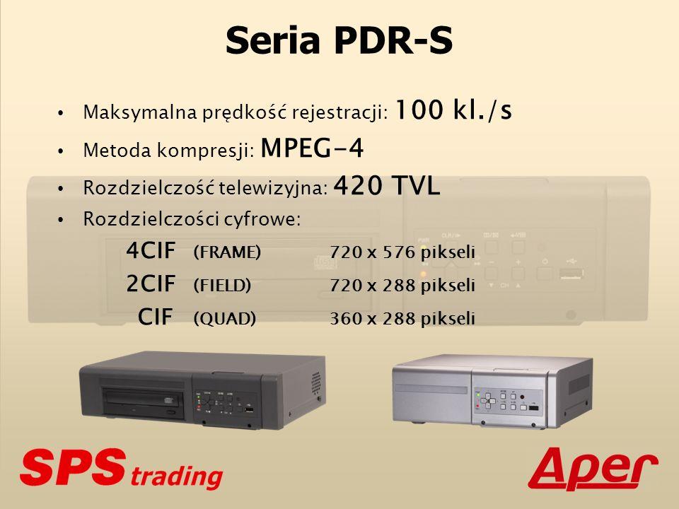 Seria PDR-S (porównanie) Metoda kompresji PDR-S MPEG-4 PDR-M1000 MPEG-4