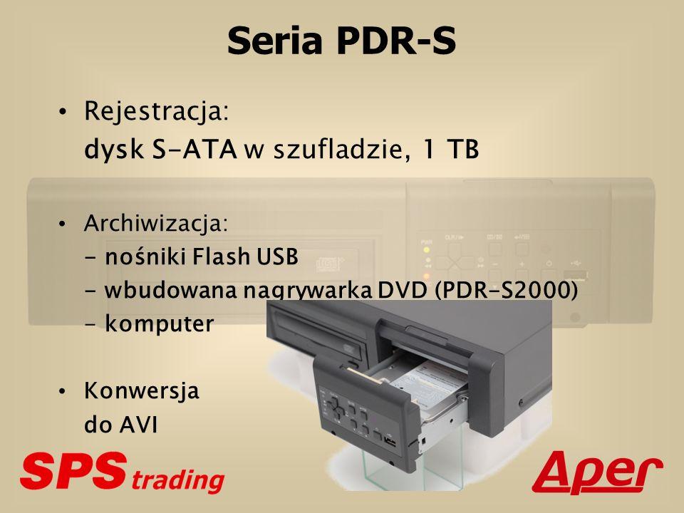 Seria PDR-S (porównanie) Rejestracja Archiwizacja PDR-S 1 dysk 1 x 1 TB = 1 TB S-ATA Wbudowana nagrywarka DVD Nośnik Flash USB Komputer PDR-M1000 3 (4) dyski 3 (4) x 1 TB = 3 TB (4 TB) IDE-ATA Wbudowana nagrywarka DVD Nośnik Flash USB Komputer