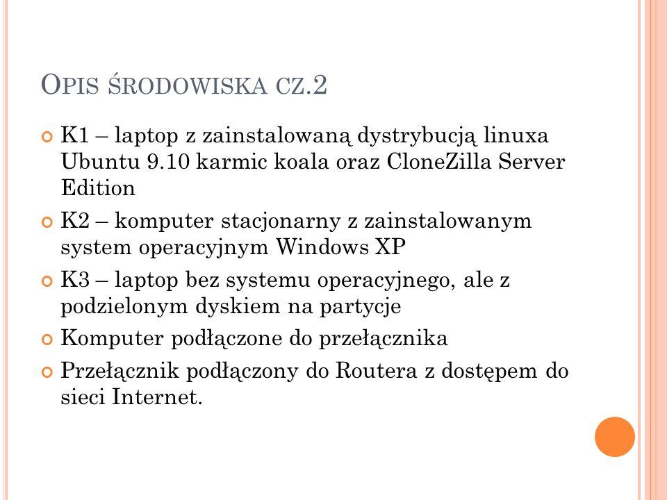 O PIS ŚRODOWISKA CZ.2 K1 – laptop z zainstalowaną dystrybucją linuxa Ubuntu 9.10 karmic koala oraz CloneZilla Server Edition K2 – komputer stacjonarny