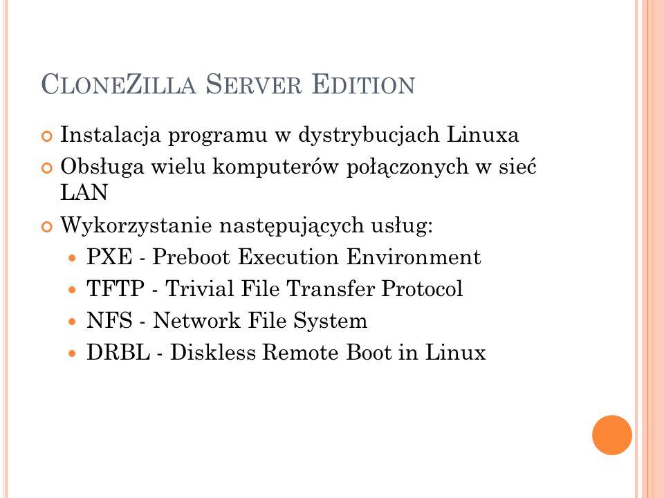 C LONE Z ILLA S ERVER E DITION Instalacja programu w dystrybucjach Linuxa Obsługa wielu komputerów połączonych w sieć LAN Wykorzystanie następujących