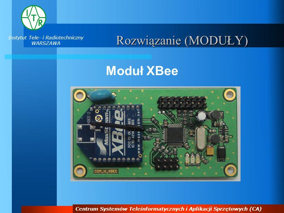 Instytut Tele- i Radiotechniczny WARSZAWA Centrum Systemów Teleinformatycznych i Aplikacji Sprzętowych (CA) Rozwiązanie (MODUŁY) Moduł XBee