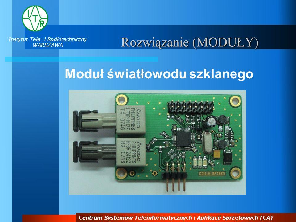 Instytut Tele- i Radiotechniczny WARSZAWA Centrum Systemów Teleinformatycznych i Aplikacji Sprzętowych (CA) Rozwiązanie (MODUŁY) Moduł światłowodu szk