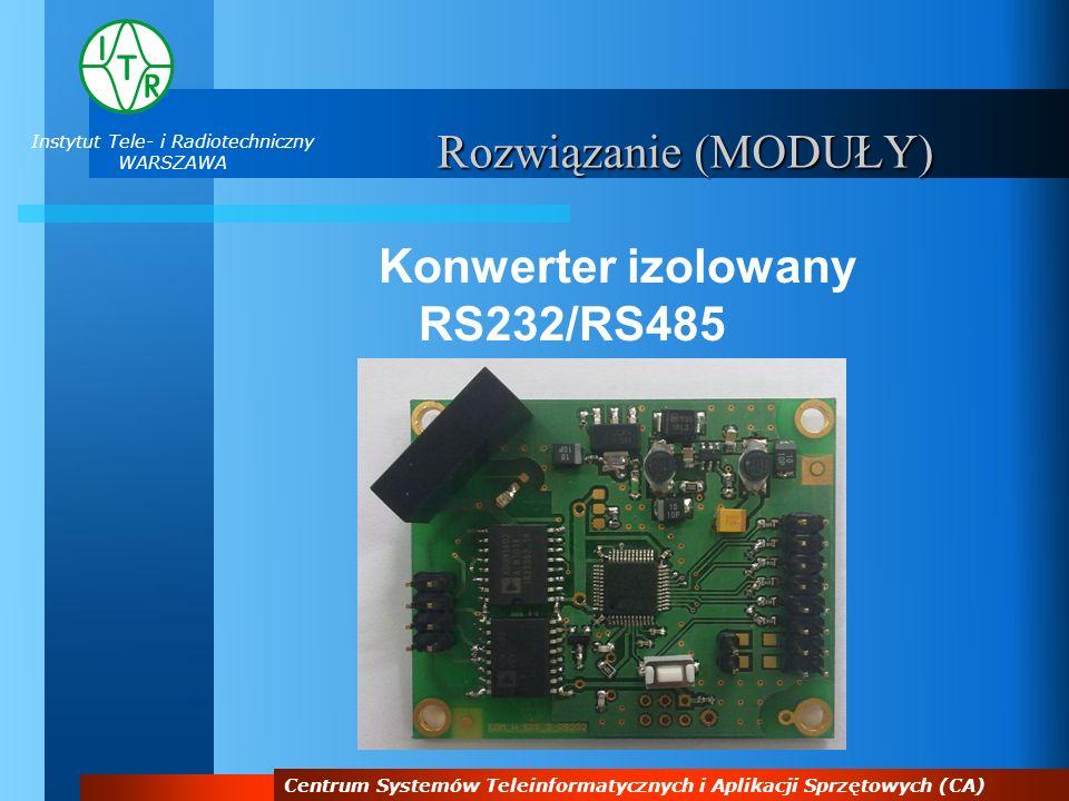 Instytut Tele- i Radiotechniczny WARSZAWA Centrum Systemów Teleinformatycznych i Aplikacji Sprzętowych (CA) Rozwiązanie (MODUŁY) Konwerter izolowany R