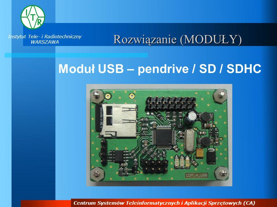 Instytut Tele- i Radiotechniczny WARSZAWA Centrum Systemów Teleinformatycznych i Aplikacji Sprzętowych (CA) Rozwiązanie (MODUŁY) Moduł USB – pendrive