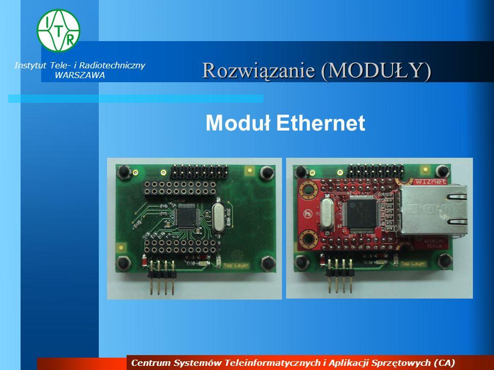 Instytut Tele- i Radiotechniczny WARSZAWA Centrum Systemów Teleinformatycznych i Aplikacji Sprzętowych (CA) Rozwiązanie (MODUŁY) Moduł Ethernet