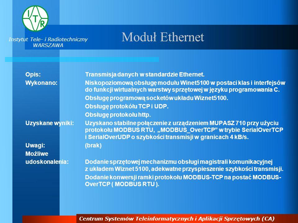 Instytut Tele- i Radiotechniczny WARSZAWA Centrum Systemów Teleinformatycznych i Aplikacji Sprzętowych (CA) Moduł Ethernet Opis:Transmisja danych w st