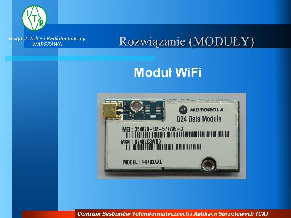 Instytut Tele- i Radiotechniczny WARSZAWA Centrum Systemów Teleinformatycznych i Aplikacji Sprzętowych (CA) Rozwiązanie (MODUŁY) Moduł WiFi