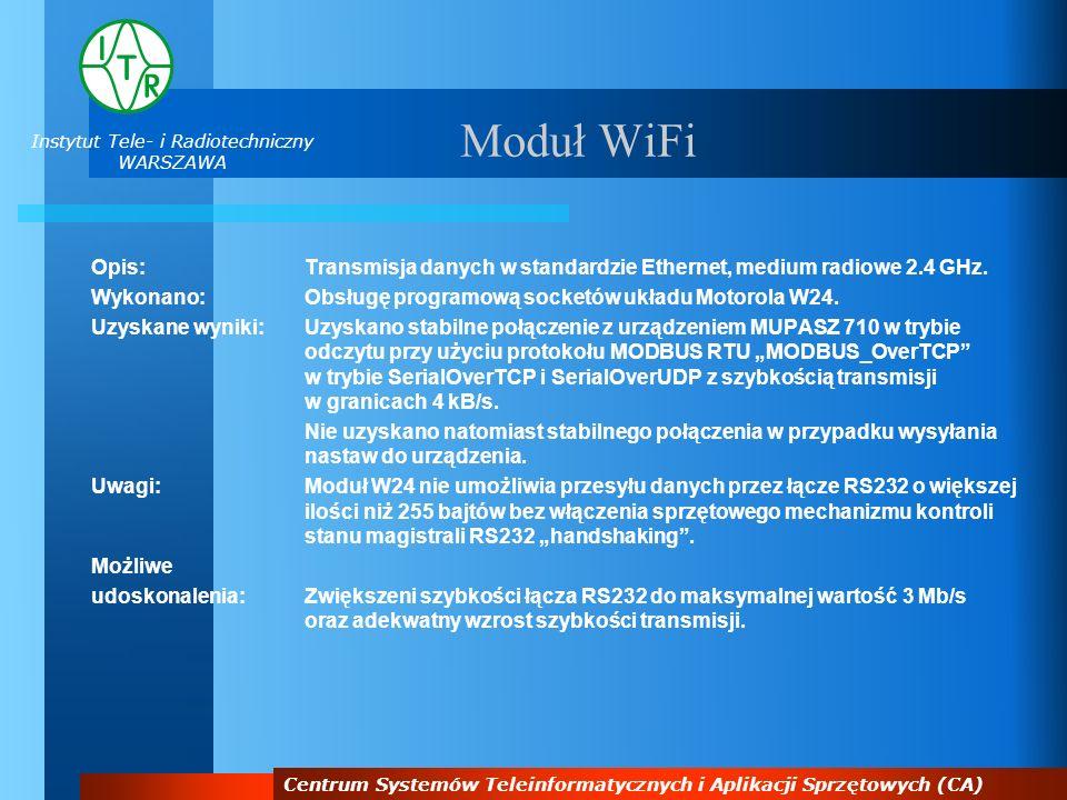 Instytut Tele- i Radiotechniczny WARSZAWA Centrum Systemów Teleinformatycznych i Aplikacji Sprzętowych (CA) Moduł WiFi Opis:Transmisja danych w standa