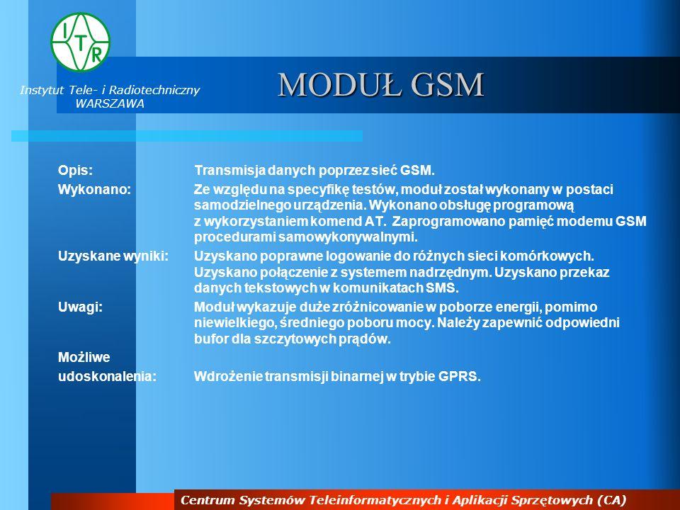 Instytut Tele- i Radiotechniczny WARSZAWA Centrum Systemów Teleinformatycznych i Aplikacji Sprzętowych (CA) MODUŁ GSM Opis:Transmisja danych poprzez s