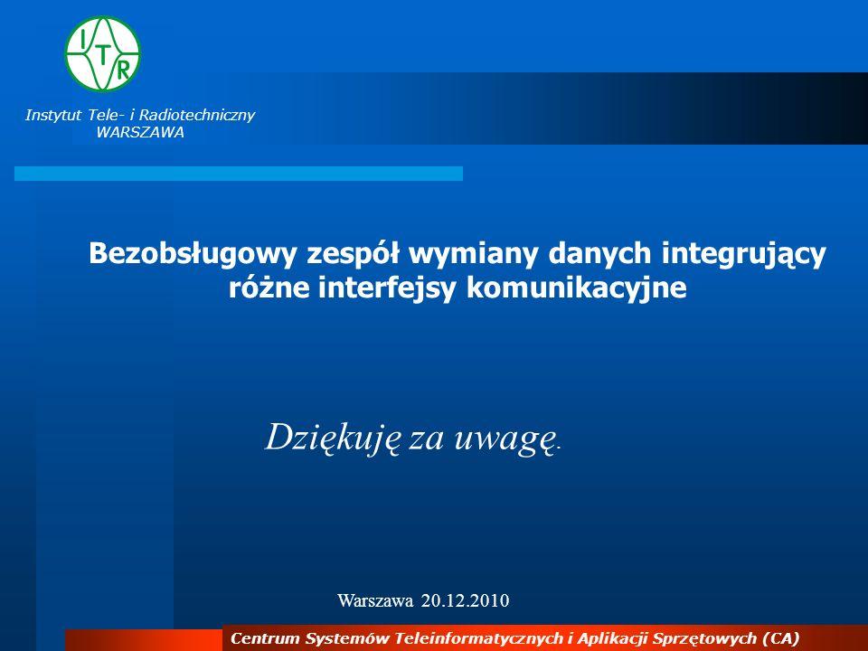 Instytut Tele- i Radiotechniczny WARSZAWA Centrum Systemów Teleinformatycznych i Aplikacji Sprzętowych (CA) Dziękuję za uwagę. Warszawa 20.12.2010 Bez
