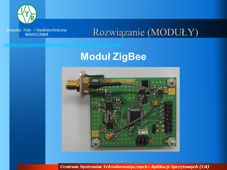 Instytut Tele- i Radiotechniczny WARSZAWA Centrum Systemów Teleinformatycznych i Aplikacji Sprzętowych (CA) Moduł ZigBee Opis:Komunikacja radiowa w paśmie 2,4 GHz według standardu ZigBee.