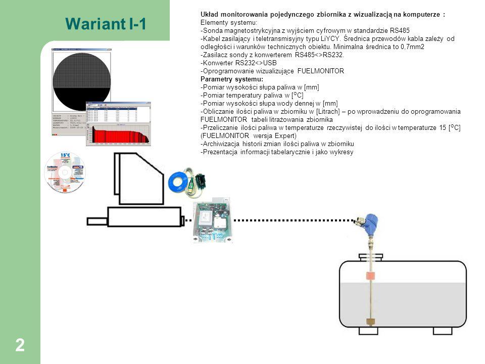 3 Wariant I-2 Układ monitorowania wielu zbiorników z wizualizacją na komputerze : Elementy systemu: -Sondy magnetostrykcyjne z wyjściem cyfrowym w standardzie RS485 -Kabel zasilający i teletransmisyjny typu LiYCY.