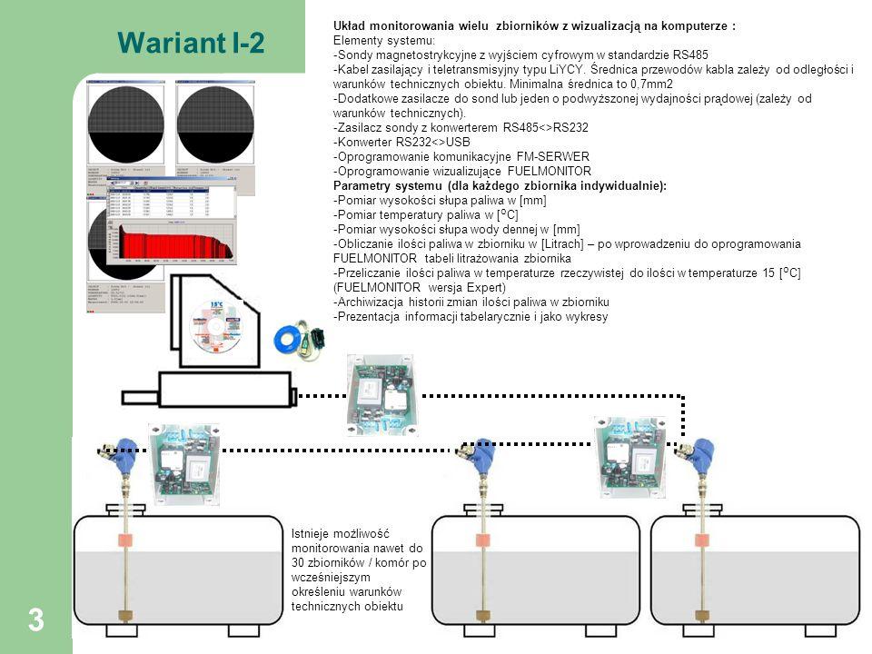 14 Wariant VI-1 Bramka GSM<> Internet INTERNET GSM Układ monitorowania zbiornika przez Internet wizualizacją na komputerze i na centralce elektronicznej PGSM-L1 : Elementy systemu: -Sonda magnetostrykcyjna z wyjściem cyfrowym w standardzie RS485 -Centralka elektroniczna PGSM-L1 -Bramka internetowa GSM<>Internet (wymaga karty SIM z aktywną usługą GPRS i stałym publicznym adresem IP np.