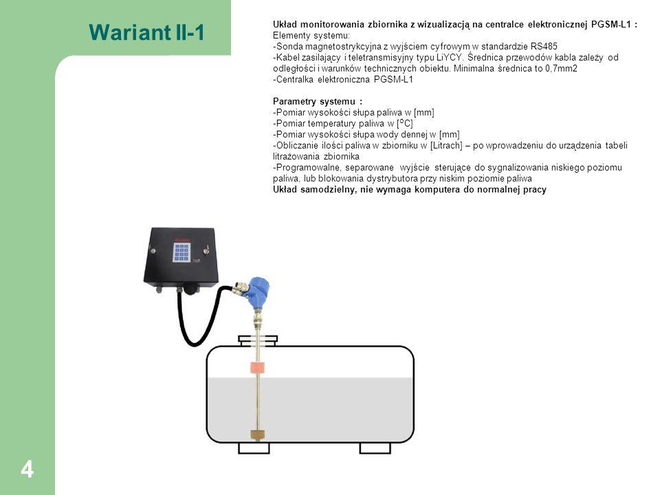 5 Wariant II-2 Układ monitorowania wielu zbiorników (maksymalnie 4) z wizualizacją na centralce elektronicznej PGSM-L1 : Elementy systemu: -Sondy magnetostrykcyjne z wyjściem cyfrowym w standardzie RS485 -Kabel zasilający i teletransmisyjny typu LiYCY.