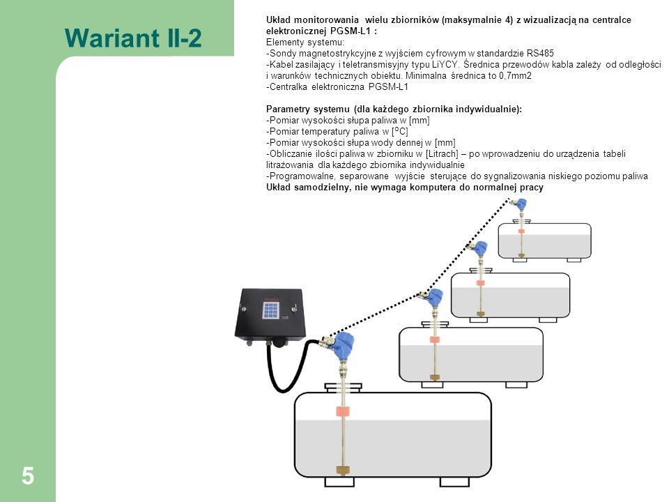 6 Wariant III-1 Układ monitorowania pojedynczego zbiornika z wizualizacją na komputerze i przy zbiorniku na centralce elektronicznej PGSM-L1 : Elementy systemu: -Sonda magnetostrykcyjna z wyjściem cyfrowym w standardzie RS485 -Centralka elektroniczna PGSM-L1 -Kabel zasilający i teletransmisyjny typu LiYCY.