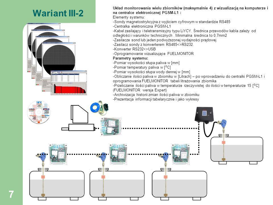 8 Wariant IV-1 GSM SMS Układ monitorowania zbiornika z wizualizacją na centralce elektronicznej PGSM-L1/SMS i telefonie komórkowym : Elementy systemu: -Sonda magnetostrykcyjna z wyjściem cyfrowym w standardzie RS485 -Kabel zasilający i teletransmisyjny typu LiYCY.