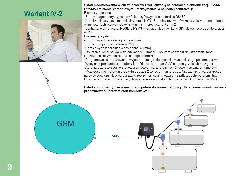 9 Wariant IV-2 GSM SMS Układ monitorowania wielu zbiorników z wizualizacją na centralce elektronicznej PGSM- L1/SMS i telefonie komórkowym (maksymalni