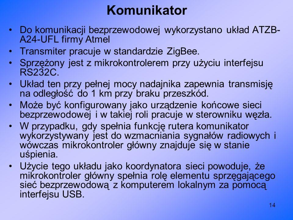 14 Do komunikacji bezprzewodowej wykorzystano układ ATZB- A24-UFL firmy Atmel Transmiter pracuje w standardzie ZigBee. Sprzężony jest z mikrokontroler
