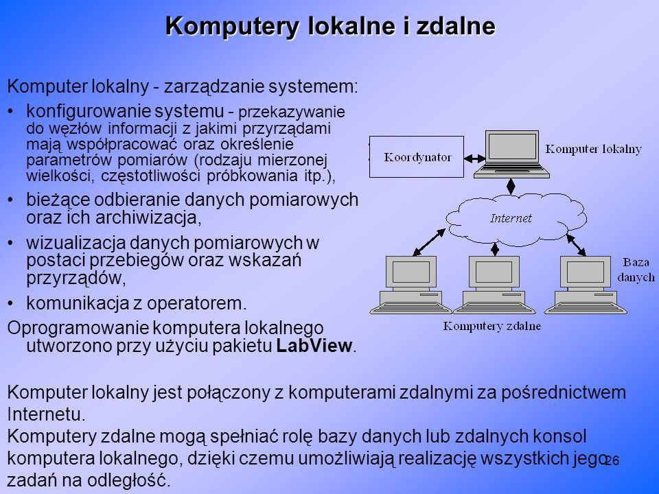26 Komputer lokalny - zarządzanie systemem: konfigurowanie systemu - przekazywanie do węzłów informacji z jakimi przyrządami mają współpracować oraz o