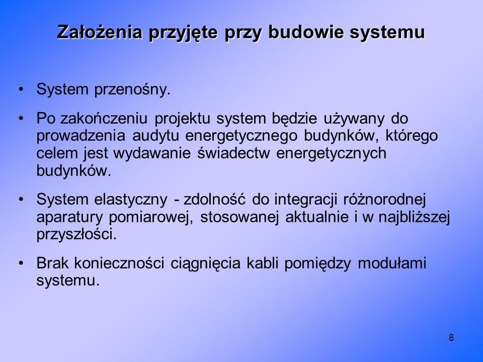 8 Założenia przyjęte przy budowie systemu System przenośny. Po zakończeniu projektu system będzie używany do prowadzenia audytu energetycznego budynkó