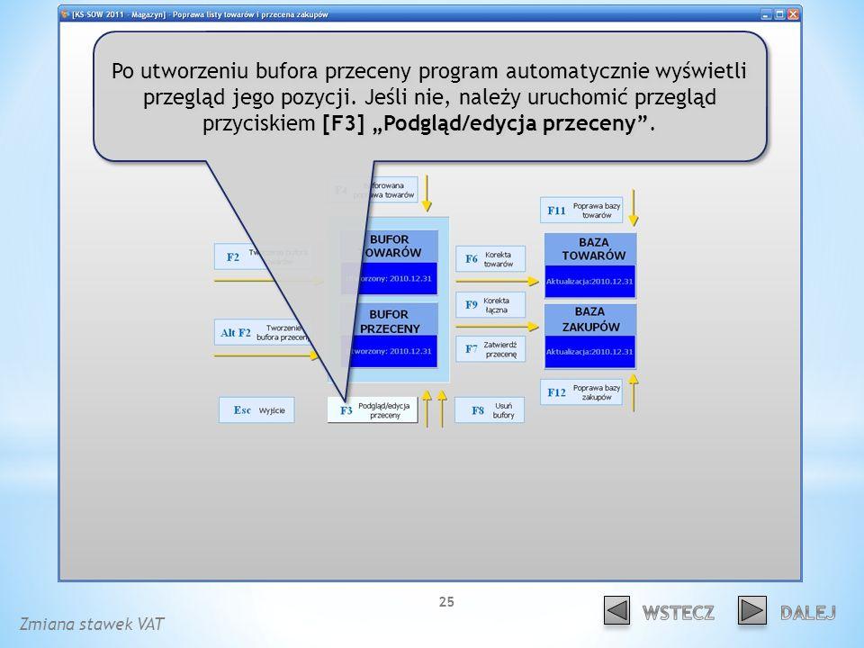 Po utworzeniu bufora przeceny program automatycznie wyświetli przegląd jego pozycji.