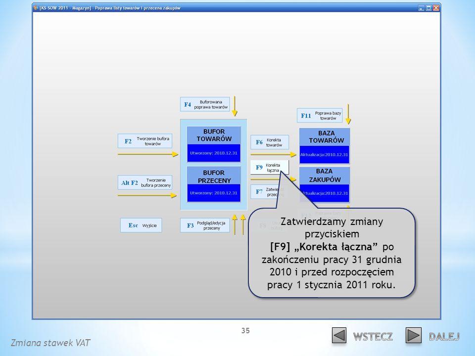 Zatwierdzamy zmiany przyciskiem [F9] Korekta łączna po zakończeniu pracy 31 grudnia 2010 i przed rozpoczęciem pracy 1 stycznia 2011 roku.