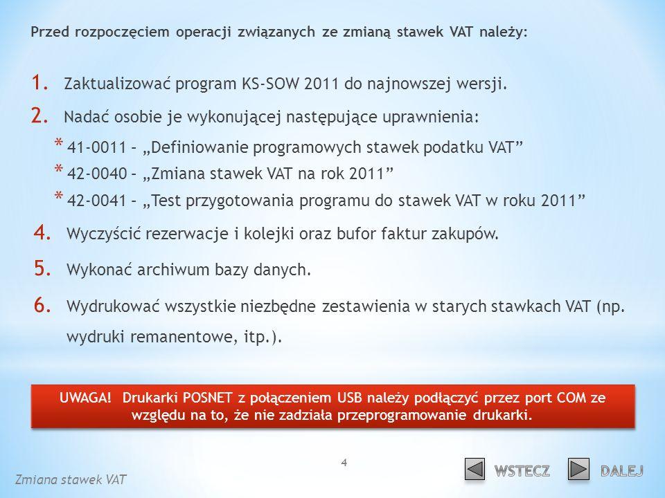 Przed rozpoczęciem operacji związanych ze zmianą stawek VAT należy: 1.