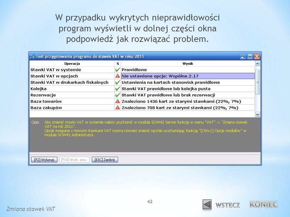 W przypadku wykrytych nieprawidłowości program wyświetli w dolnej części okna podpowiedź jak rozwiązać problem.