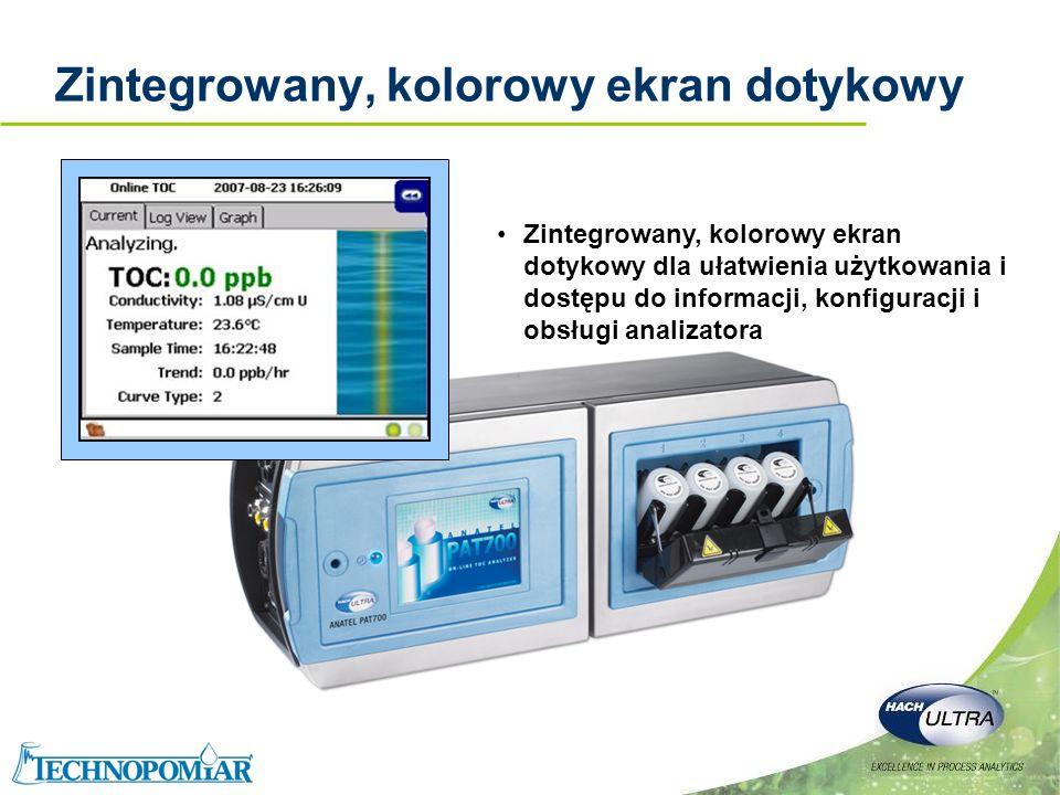 Copyright 2006 Hach Ultra Analytics – Page 12 Zintegrowany, kolorowy ekran dotykowy Zintegrowany, kolorowy ekran dotykowy dla ułatwienia użytkowania i