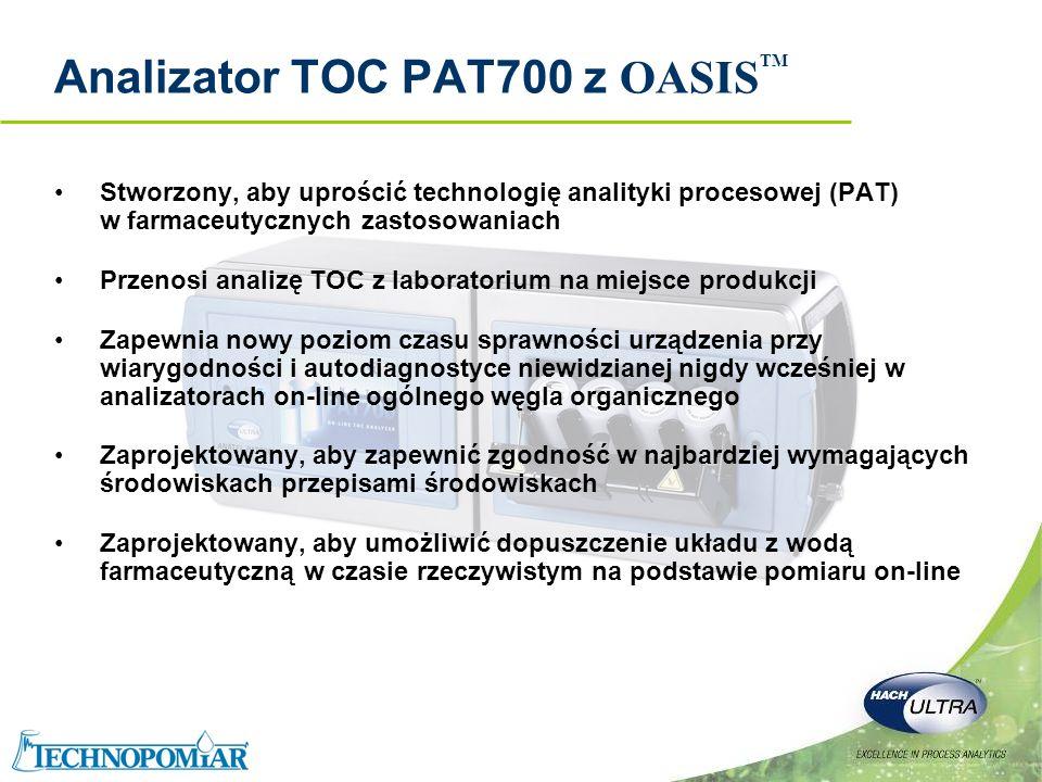 Copyright 2006 Hach Ultra Analytics – Page 4 Wprowadzenie do PAT700 Analiza on-line TOC z całkowitym utlenieniem próbki Urządzenie oparte na wiedzy, zarządzające ryzykiem, zaprojektowane, żeby spełnić wszystkie wymagania USP, EP i JP OASIS TM wbudowany zautomatyzowany system wprowadzania standardów Wbudowany, kolorowy ekran dotykowy Wiele wejść/wyjść włącznie z oddzielnymi analogami dla TOC, temperatury i przewodności Podwójna lampa UV z technologią detekcji UV dla poprawienia wiarygodności i diagnostyki (wymiana lampy UV po całkowitym jej wyeksploatowaniu, analizator działa także z jedną lampą) Obudowa ze stali kwasoodpornej o IP 56 zwiększa ochronę przed wodą i pyłem