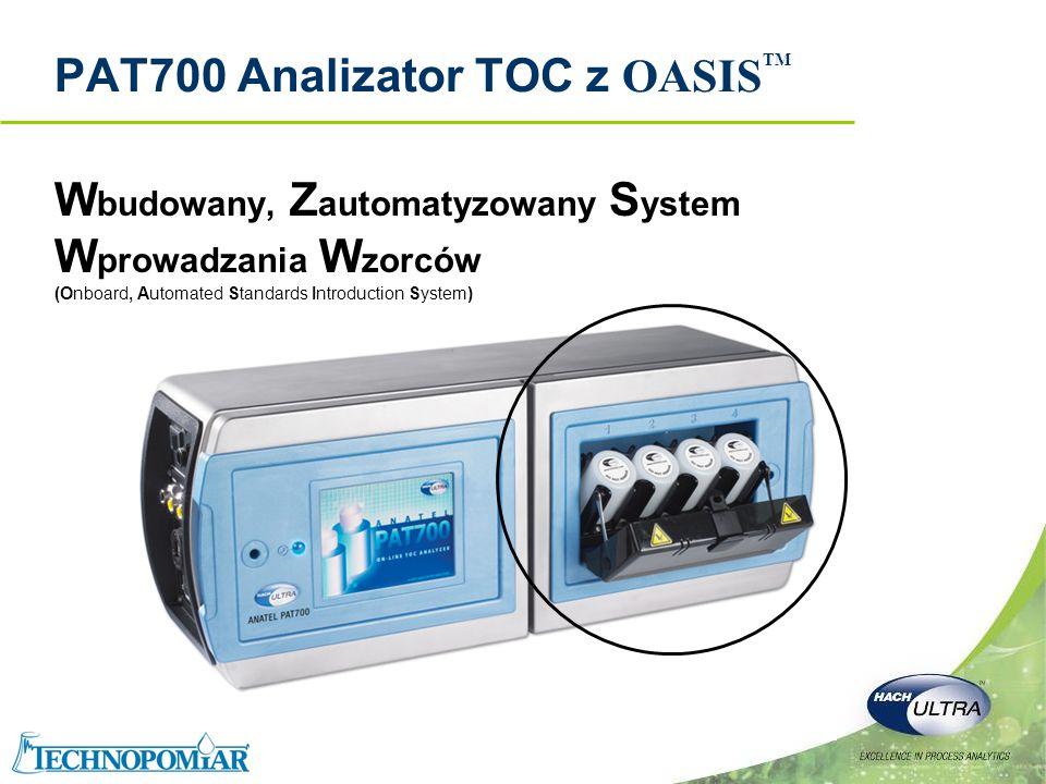 Copyright 2006 Hach Ultra Analytics – Page 18 PAT700 Cechy i zalety Poprawia zdolność analizy nagłych skoków TOC w wodzie Możliwość poboru próbki szczytowej Zmniejsza efekt temperatury na pomiar TOC i części mechaniczne urządzenia Wbudowany wymiennik ciepła Poprawia stopień ochrony przed wodą i cząstkami Obudowa ze stali kwasoodpornej IP 56 Prosty interfejs użytkownika i dostęp do informacji Wbudowany, kolorowy ekran dotykowy RS-232, port szeregowy drukarki, USB i Modbus nad Ethernetem Standardowe wejścia dwustanowe i wyjścia Zmniejsza ilość czynności konicznych do wykonania i minimalizuje ryzyko OASIS wbudowany, zautomatyzowany system wprowadzania standardów ZaletyCechy