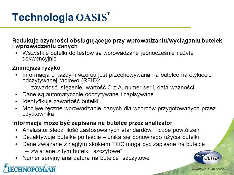 Copyright 2006 Hach Ultra Analytics – Page 9 Technologia OASIS TM – RFID Identyfikacja Częstotliwością Radiową (Radio Frequency IDentification - RFID) Stosowany do opisu układu, który przesyła dane bezprzewodowo używając fal radiowych Złożony z etykiety i czytnika Etykieta RFID składa się z mikrochipa dołączonego do anteny radiowej zamontowanej na dnie Chip przechowuje dane Czytnik RFID jest stosowany do odzyskiwania danych przechowywanych na etykiecie RFID.