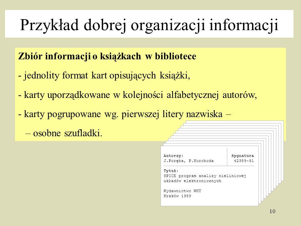 10 Zbiór informacji o książkach w bibliotece - jednolity format kart opisujących książki, - karty uporządkowane w kolejności alfabetycznej autorów, - karty pogrupowane wg.