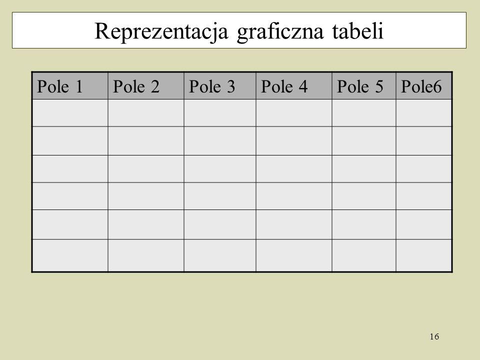 16 Reprezentacja graficzna tabeli Pole 1Pole 2Pole 3Pole 4Pole 5Pole6