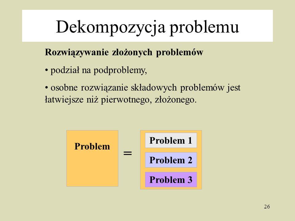 26 Rozwiązywanie złożonych problemów podział na podproblemy, osobne rozwiązanie składowych problemów jest łatwiejsze niż pierwotnego, złożonego.