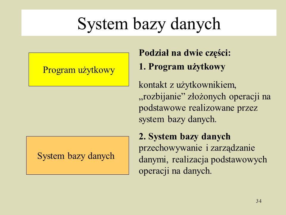 34 System bazy danych Podział na dwie części: 1.