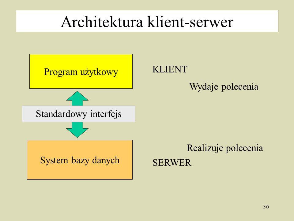 36 Architektura klient-serwer KLIENT System bazy danych Program użytkowy Standardowy interfejs SERWER Wydaje polecenia Realizuje polecenia
