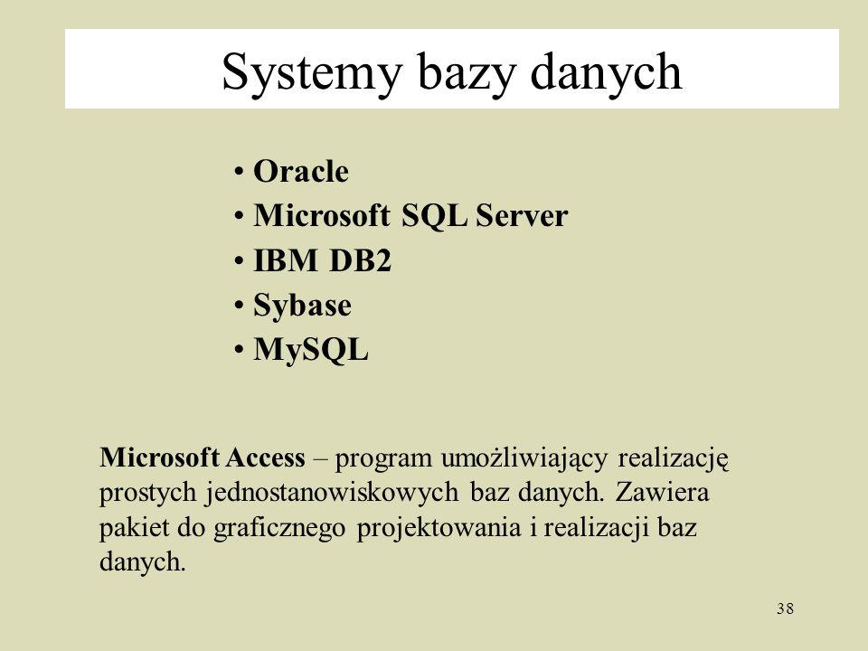 38 Systemy bazy danych Oracle Microsoft SQL Server IBM DB2 Sybase MySQL Microsoft Access – program umożliwiający realizację prostych jednostanowiskowych baz danych.