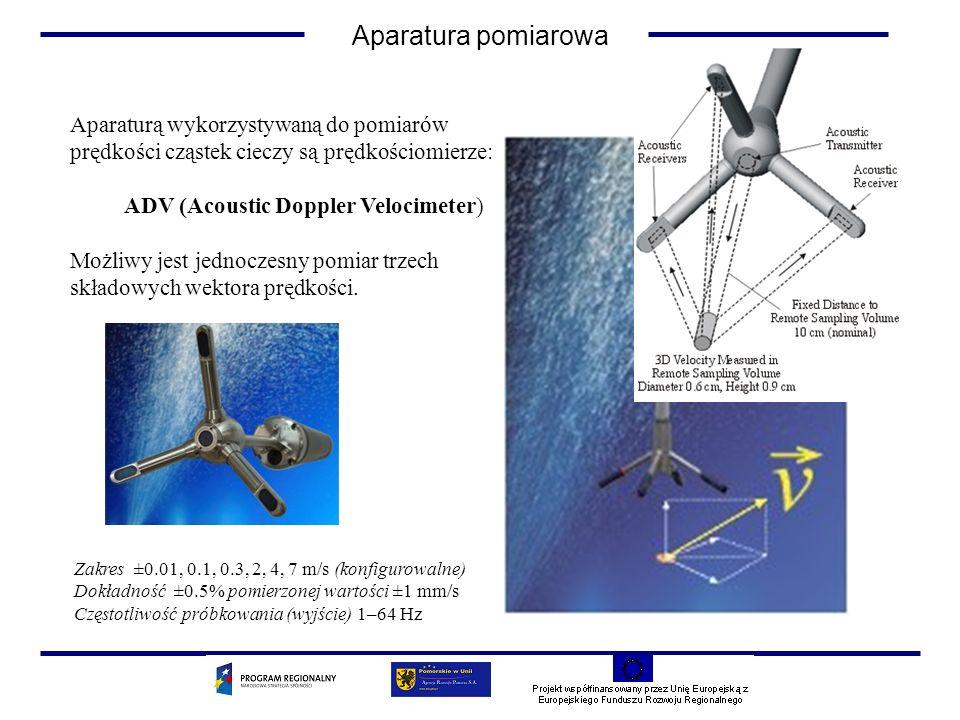 Aparaturą wykorzystywaną do pomiarów prędkości cząstek cieczy są prędkościomierze: ADV (Acoustic Doppler Velocimeter) Możliwy jest jednoczesny pomiar