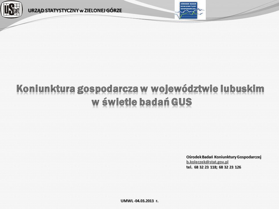 URZĄD STATYSTYCZNY w ZIELONEJ GÓRZE Ośrodek Badań Koniunktury Gospodarczej b.koleczek@stat.gov.pl tel. 68 32 23 118; 68 32 23 126 UMWL -04.03.2013 r.