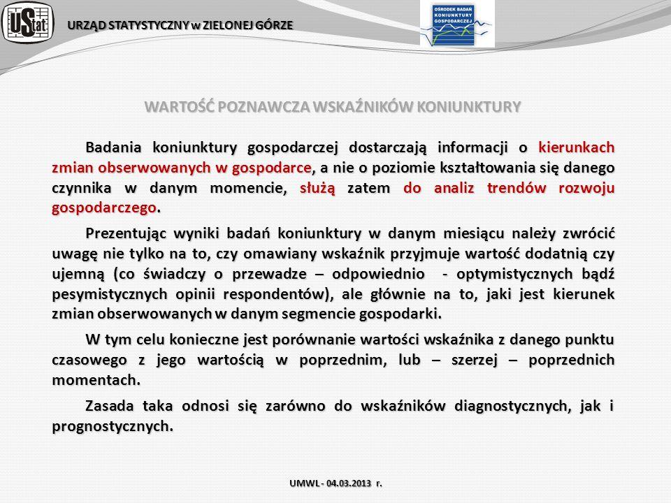 URZĄD STATYSTYCZNY w ZIELONEJ GÓRZE UMWL - 04.03.2013 r. WARTOŚĆ POZNAWCZA WSKAŹNIKÓW KONIUNKTURY Badania koniunktury gospodarczej dostarczają informa