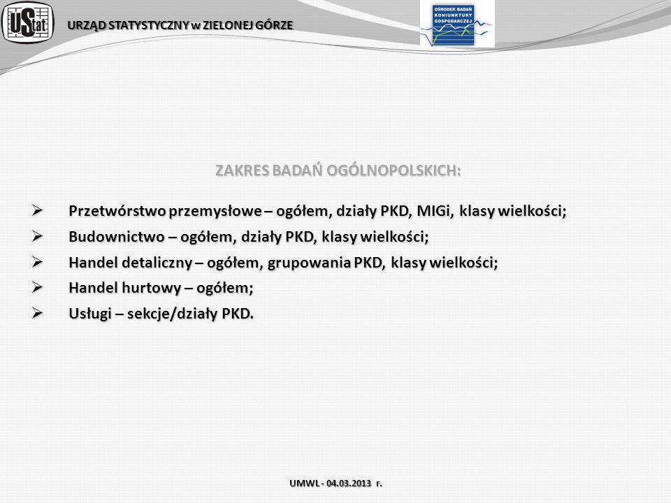 URZĄD STATYSTYCZNY w ZIELONEJ GÓRZE UMWL - 04.03.2013 r. ZAKRES BADAŃ OGÓLNOPOLSKICH: Przetwórstwo przemysłowe – ogółem, działy PKD, MIGi, klasy wielk